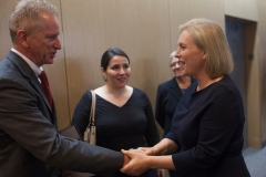 911 Health Watch Board Member Richard Alles greets Senator Gillibrand