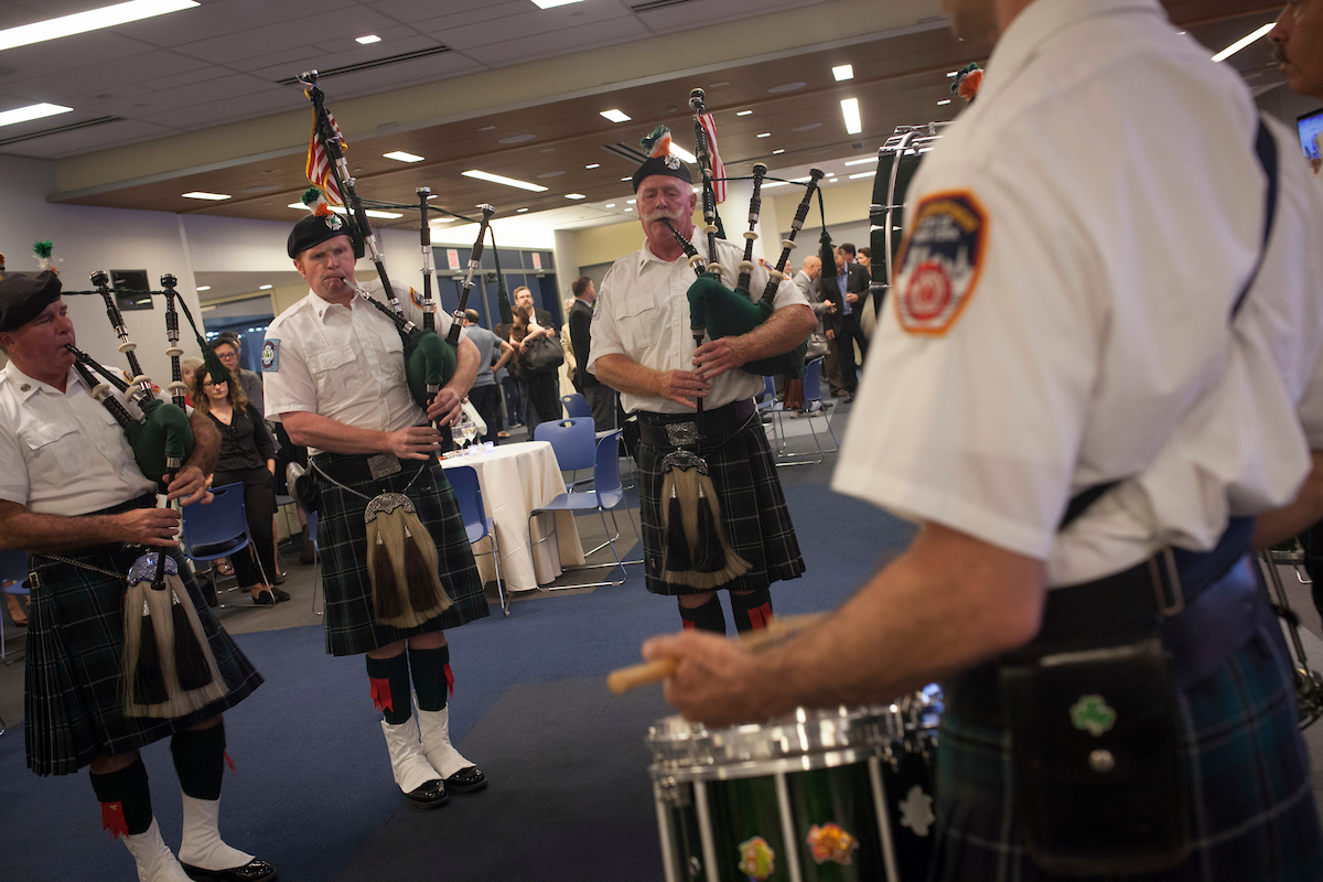 FDNY Bagpipes perform.